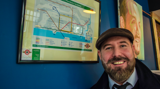 Superheroes and imagined local tube map come to Brynmill Coffee House